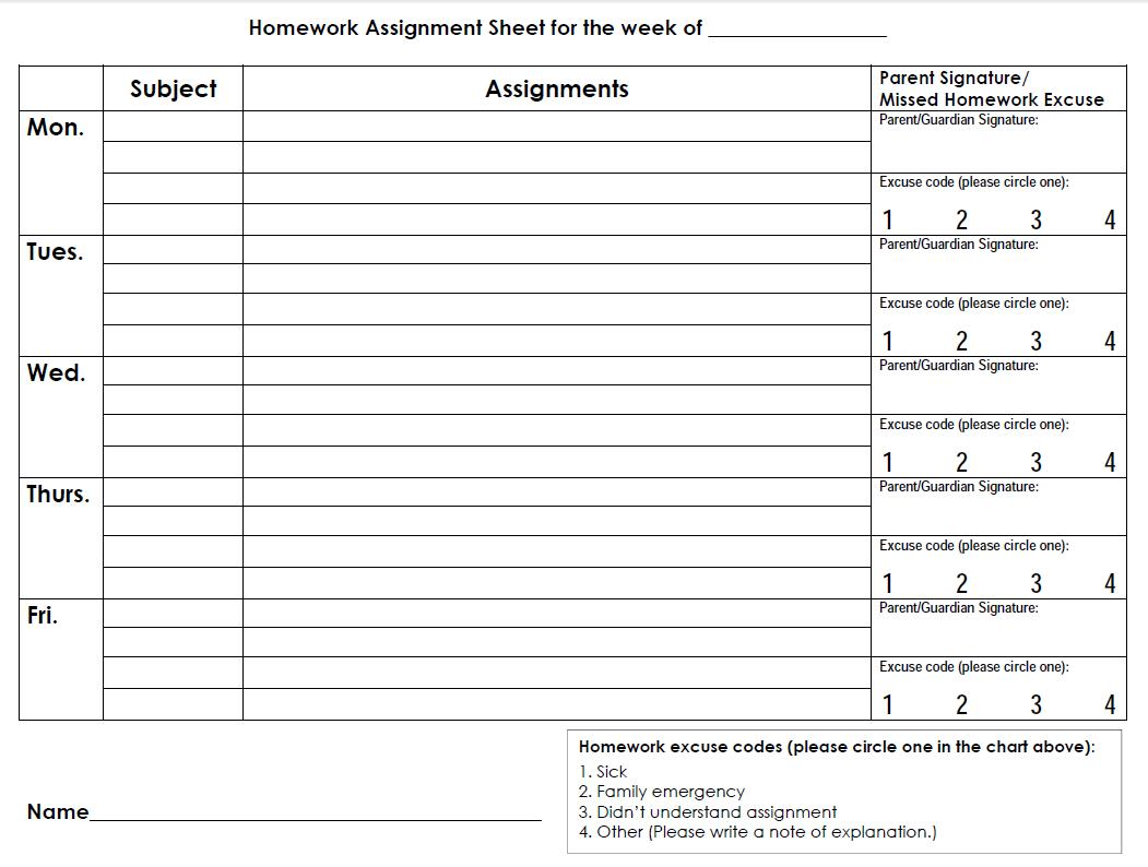Homework Assignment Sheet For Elementary