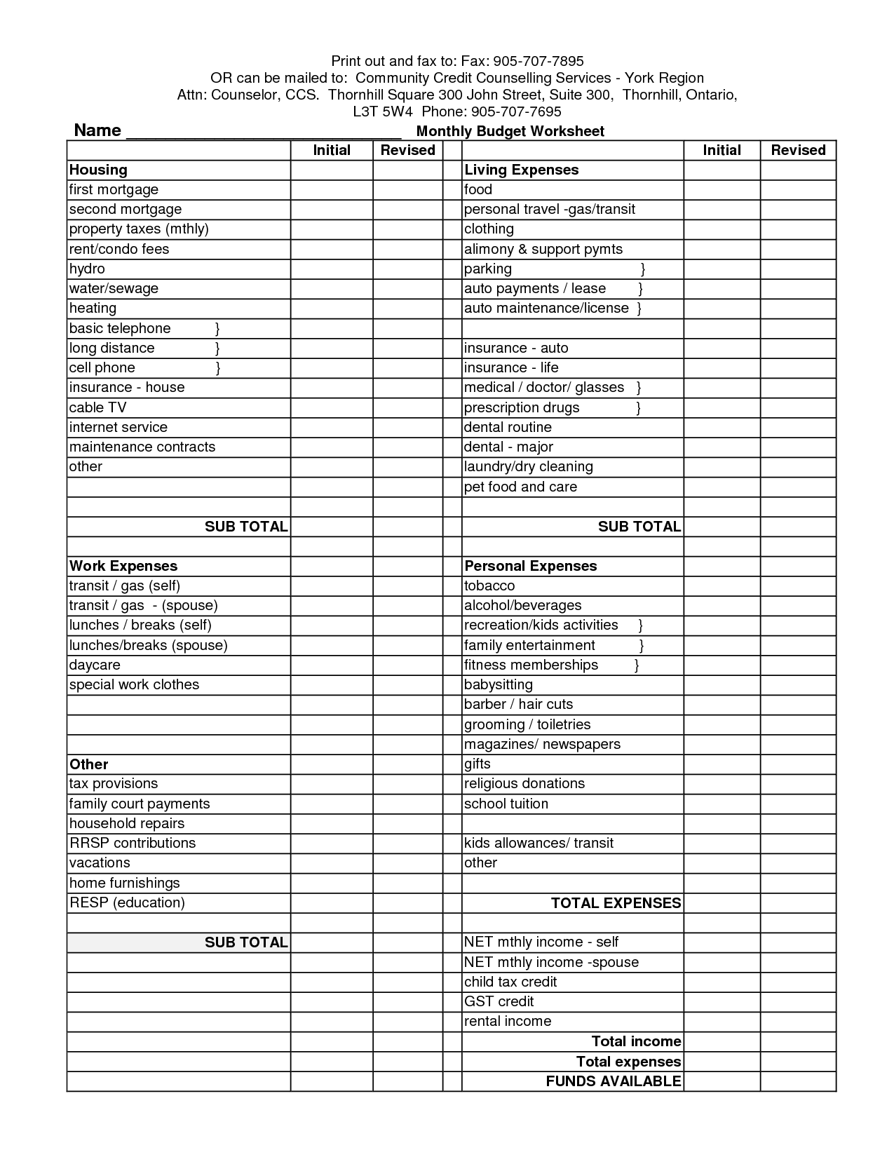 5 Best Images Of Blank Monthly Budget Worksheet Printable