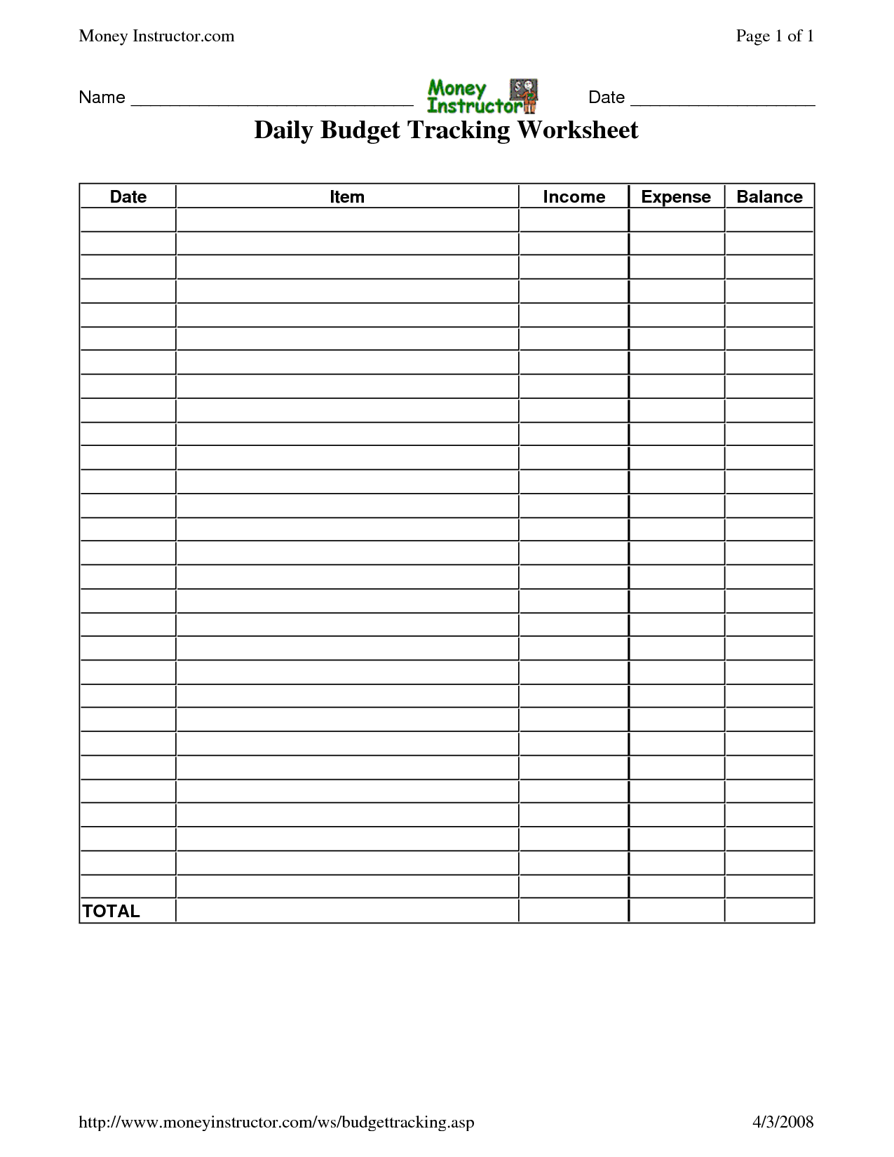 6 Best Images Of Printable Daily Expense Worksheet