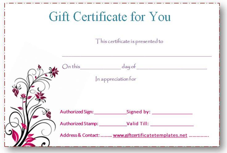 Free Gift Certificates Templates printable gift certificates – Gift Certificates Templates Free Printable