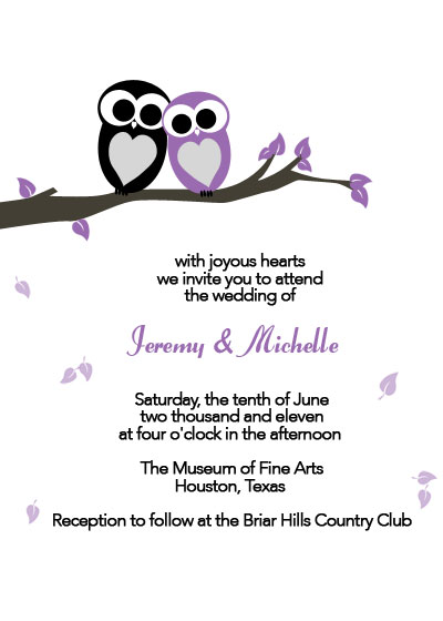 The Wood Wedding Collection Whimsical Owls Invitation