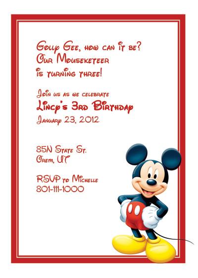 mickey mouse free invitation wedding