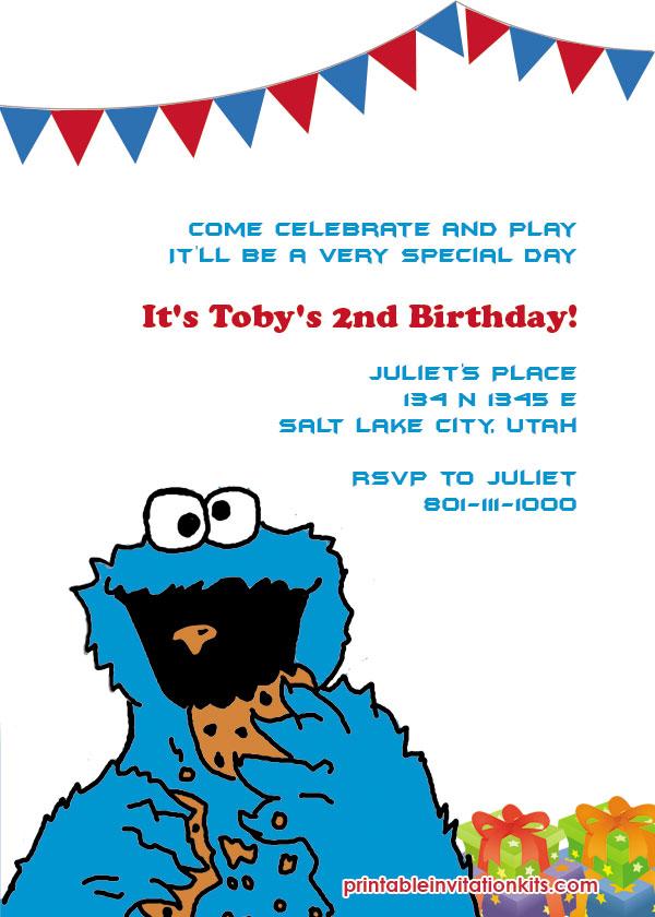 Cookie Monster Invitation Wedding Invitation Templates