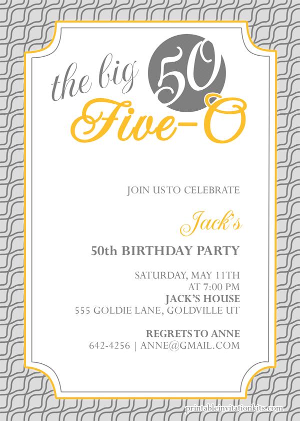 The Big Five O 50th Birthday Invitation Wedding Invitation Templates Printable Invitation Kits