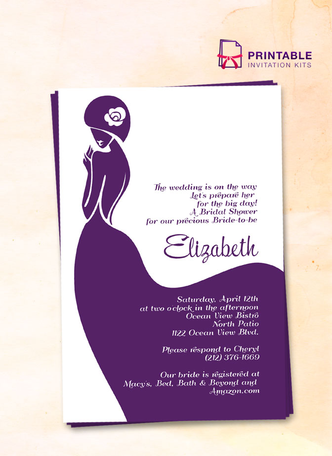 Bridal Shower Invitation Template With Lady Bride Design