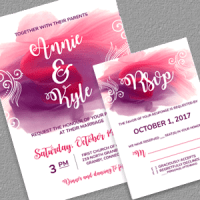 Watercolor Splash Wedding Invitation And Rsvp