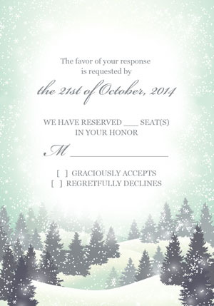 Winter Wonderland Wedding Invitation And RSVP Templates
