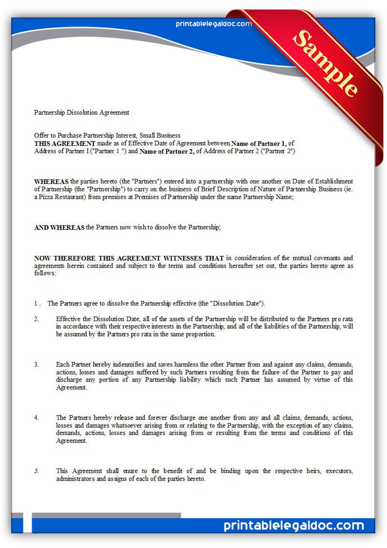 Partnership Dissolution Agreement Template sample business – Partnership Dissolution Agreement