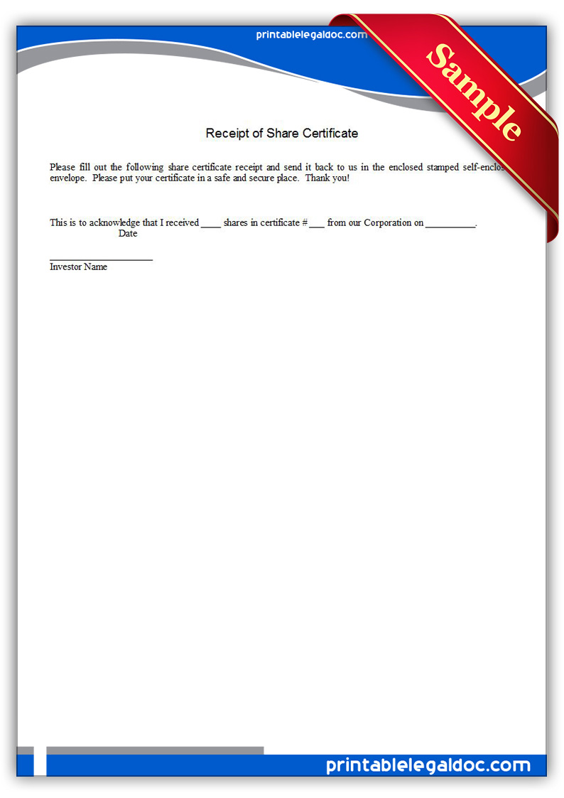 Free Printable Receipt Of Share Certificate Form Generic