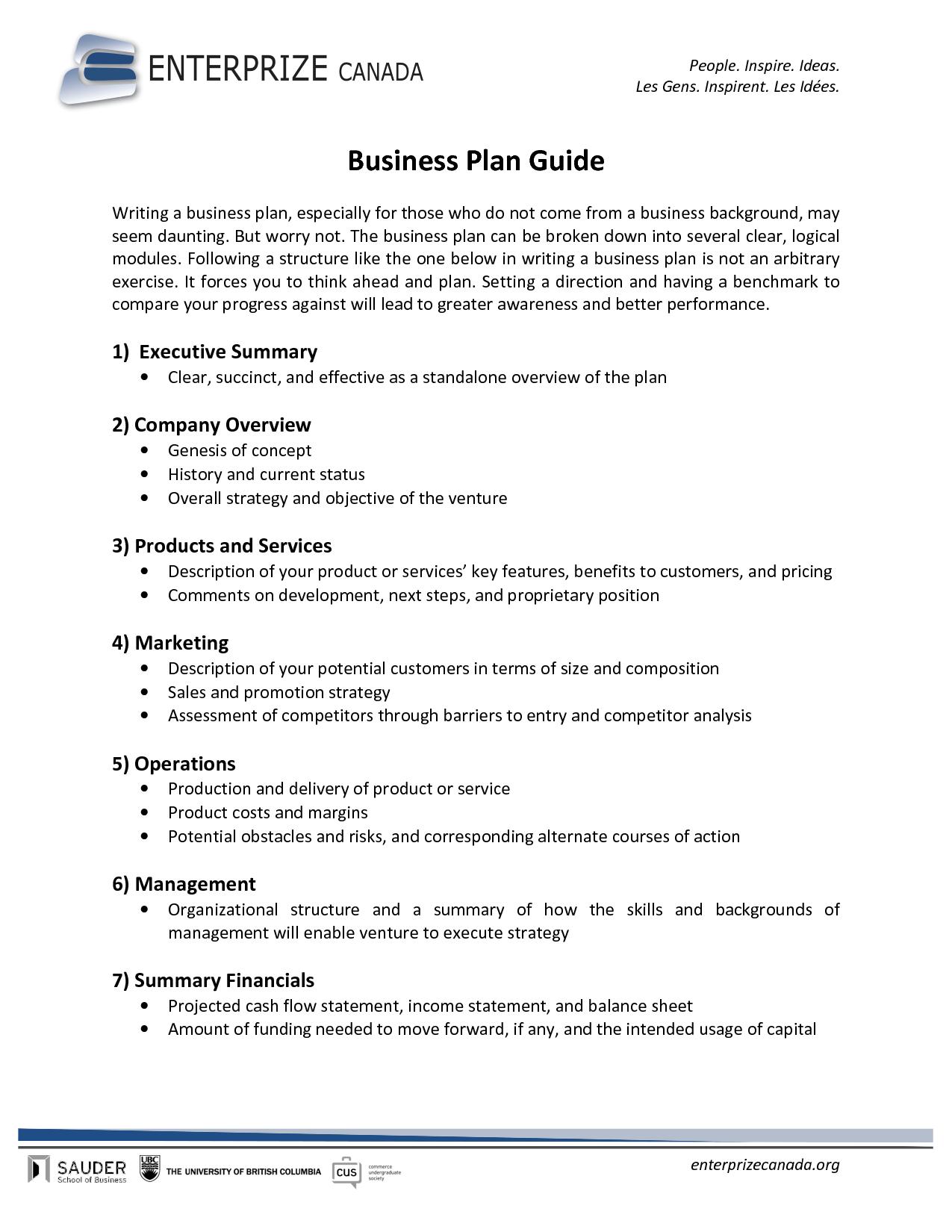 Free Printable Business Plan Sample Form Generic