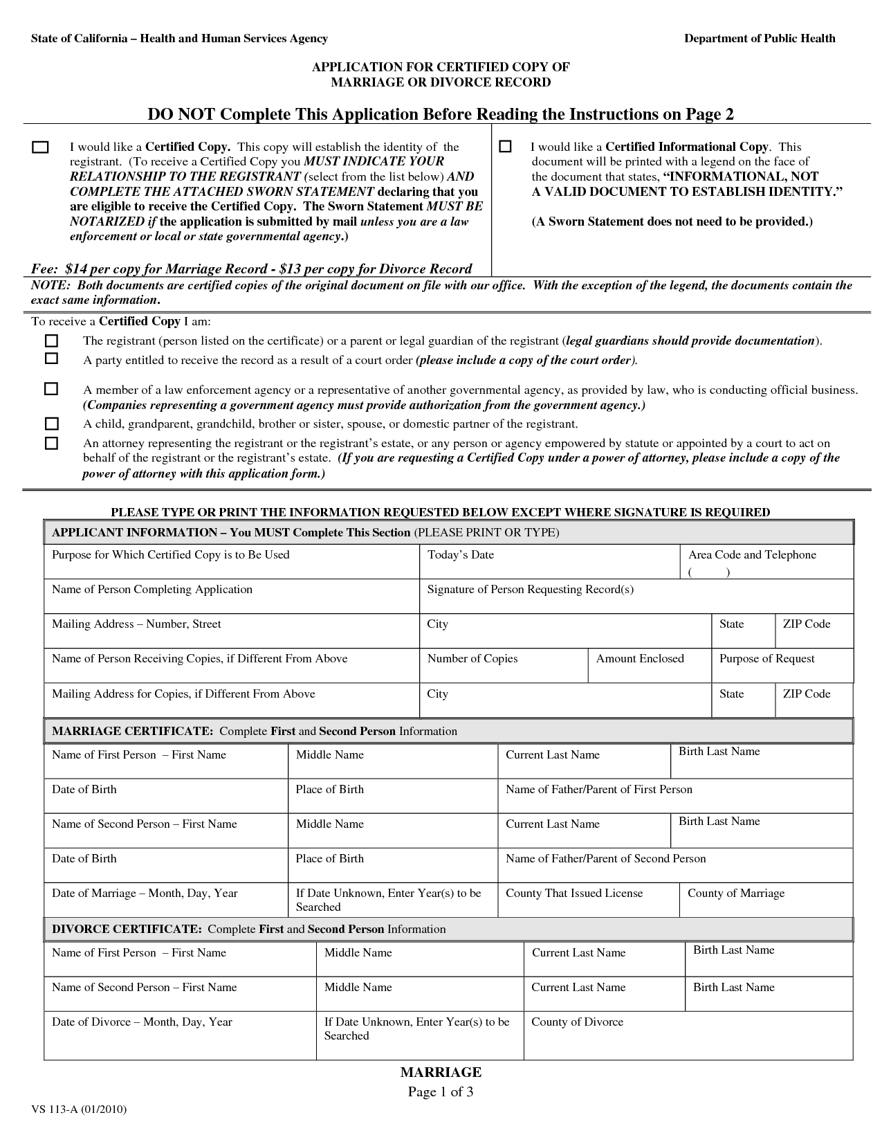 Free Printable Divorce Papers Form Generic
