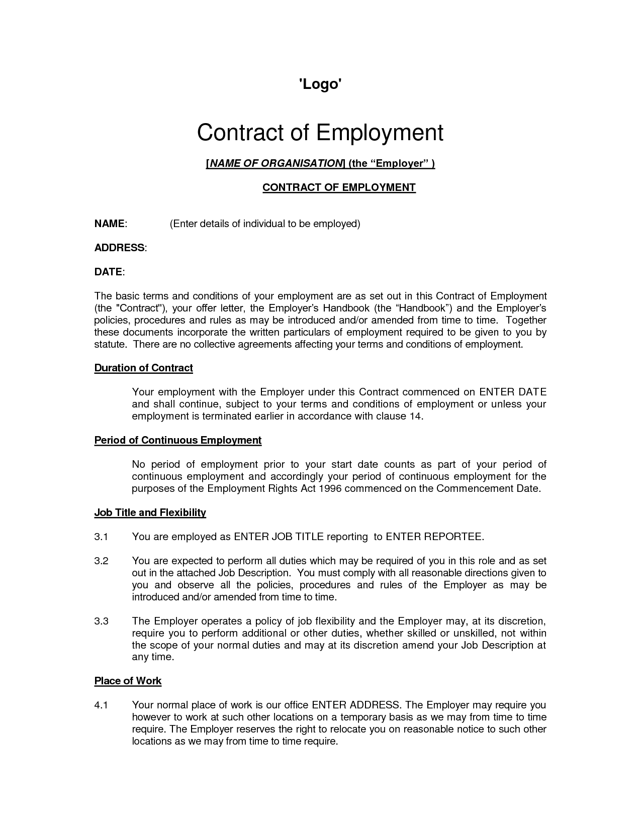 Work Agreement Contract Template self employed contract for – Self Employment Agreement