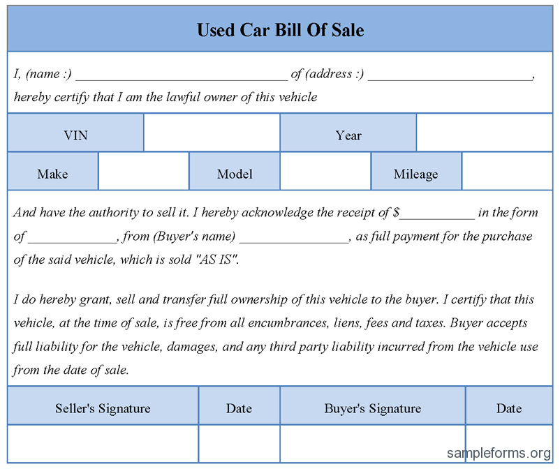 best photos of car bill of sale form template free printable bill – Template for Sale of Car