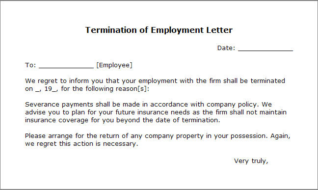 Termination Of Employment Template letter of employment template – Writing a Termination Letter