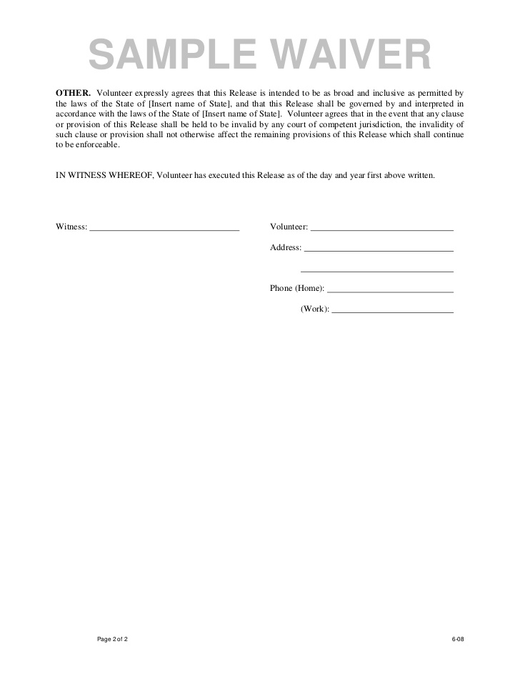 Doc.#736952: Liability Waiver Template Word – Printable Sample ...