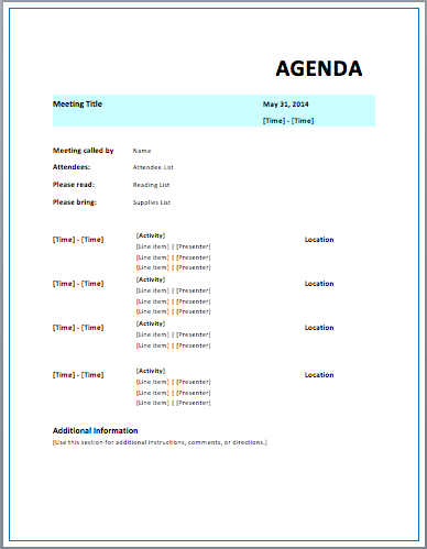 Strategic Meeting Agenda Template | Printable Meeting Agenda Templates