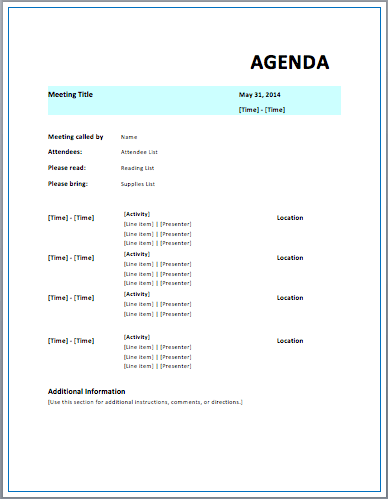 Strategic Meeting Agenda  Formal Meeting Agenda Template