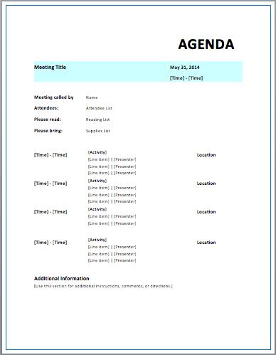 Strategic Meeting Agenda  Meeting Agenda Outline