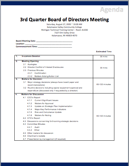 Board Meeting Agenda Template. sample board meeting agenda ...