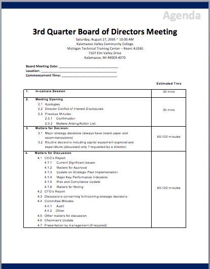 Informal Meeting Agenda Template board of directors meeting – Agenda Template for a Meeting