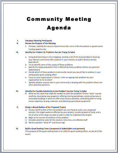 Community Meeting Agenda Templates 5 Free Ms Word Templates