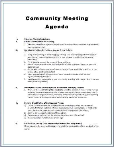 Meeting Agenda Template community meeting agenda template – Template of Meeting Agenda
