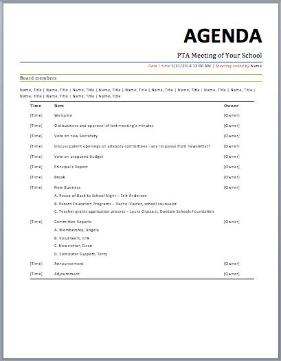 Doc529684 Meeting Agenda Word Free Meeting Agenda Template – Meeting Agenda Word Template