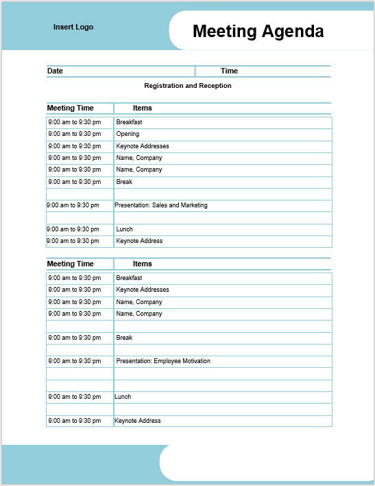 Printable Meeting Agenda Templates Free for Download