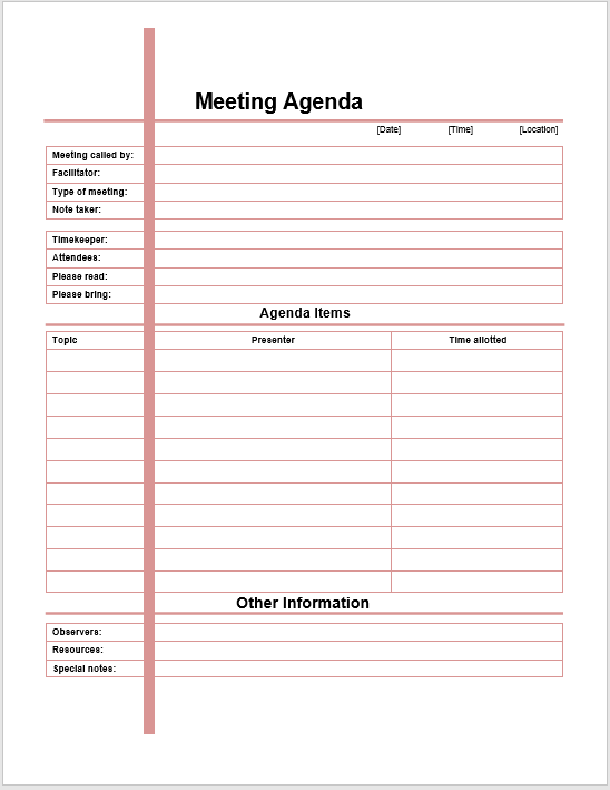 Formal Meeting Agenda Template Printable Meeting Agenda Templates