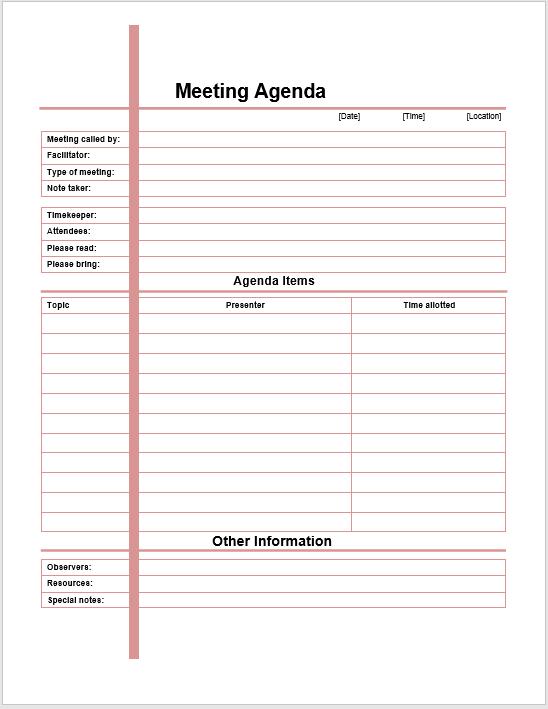 Formal Meeting Agenda Template | Printable Meeting Agenda ...