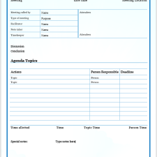 Project Manager Meeting Agenda Template
