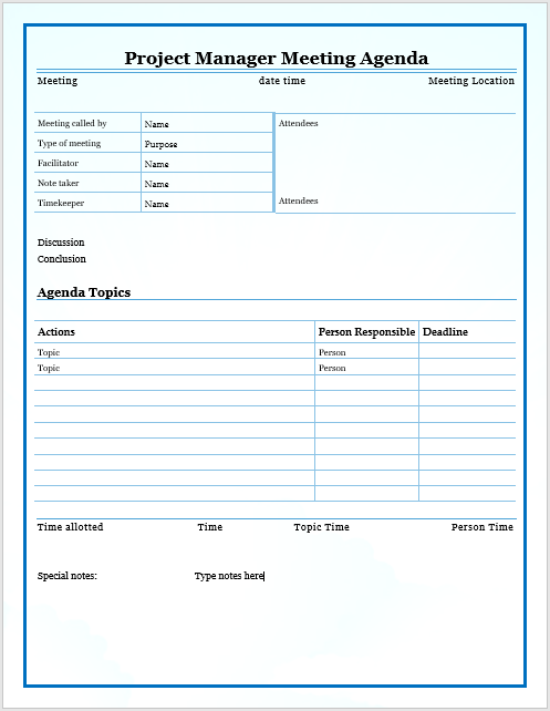 Project Manager Meeting Agenda Template  Management Meeting Agenda Template