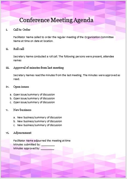 Conference meeting agenda template 03