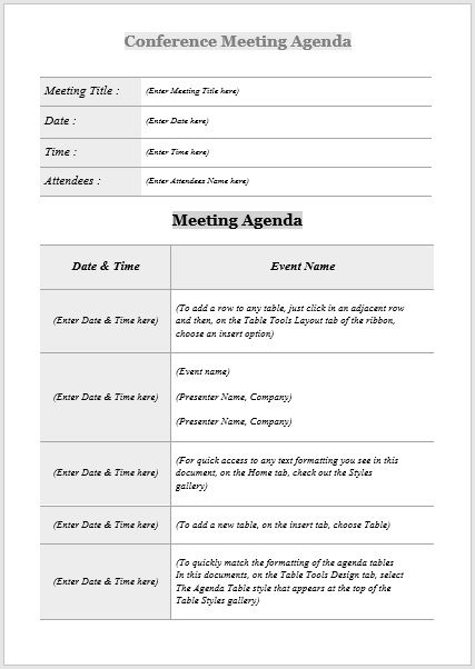 Conference meeting agenda template 06