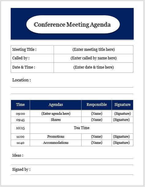 Conference meeting agenda template 09