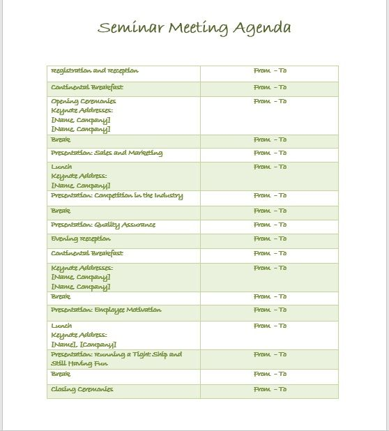 Seminar Meeting Agenda Template 2