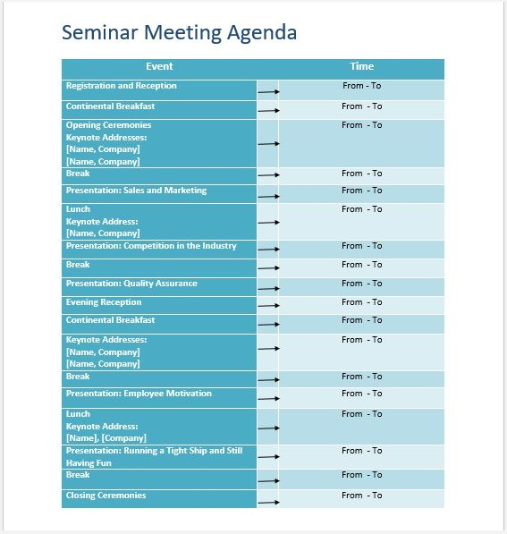 Seminar Meeting Agenda Template 3