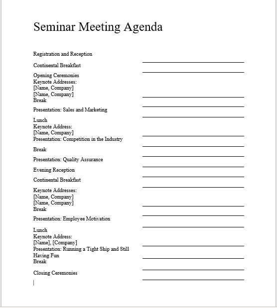 Seminar Meeting Agenda Template 4