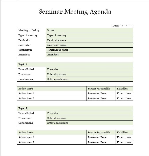 Seminar Meeting Agenda Template 9