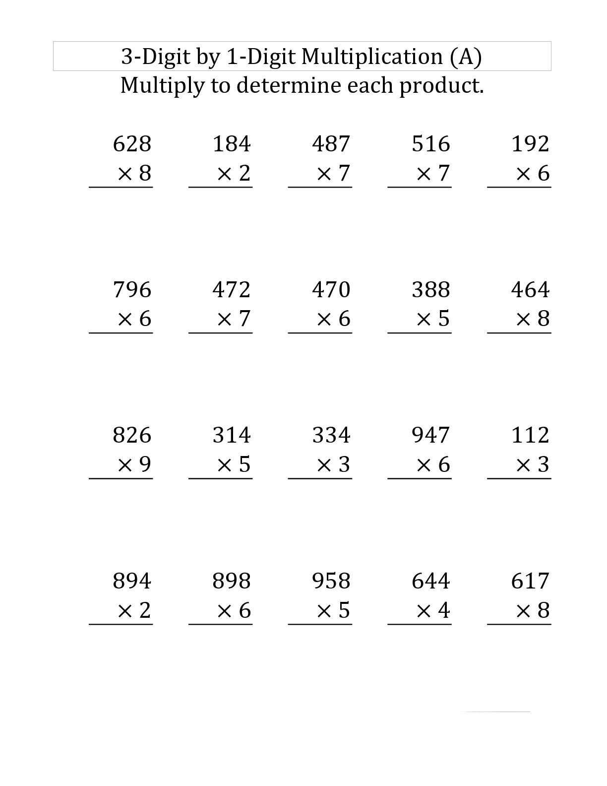 Grade 3 Multiplication Printable