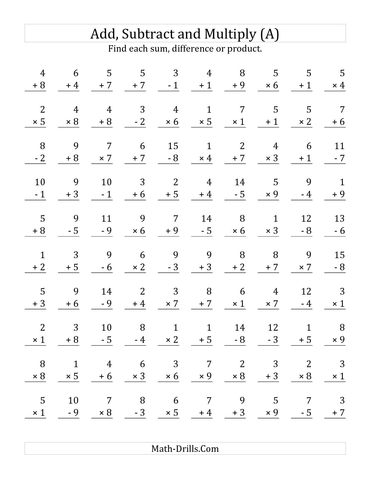 Multiplication Worksheets 9th Grade