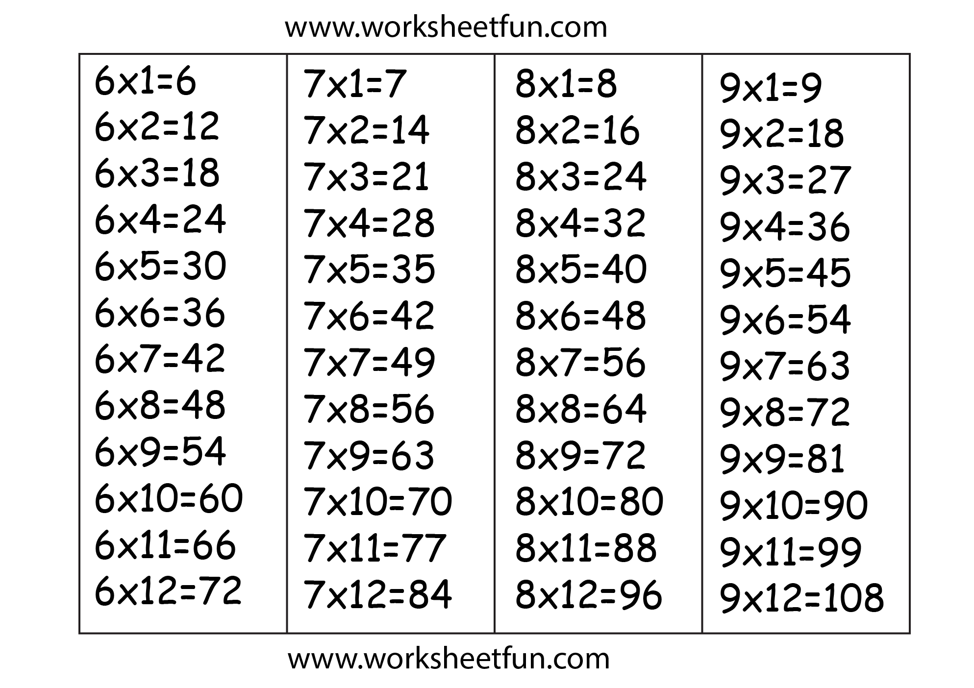 Multiplication Worksheets 6 7 8 9