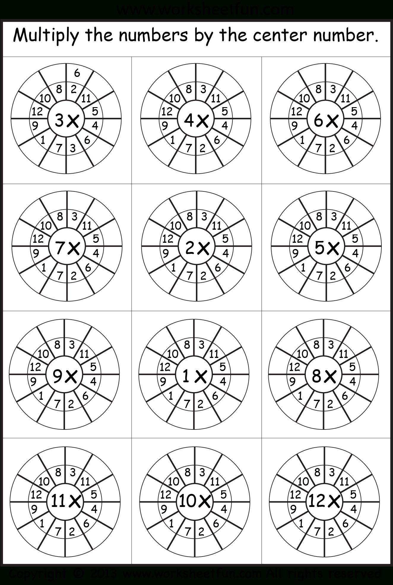 Printable Multiplication Wheels
