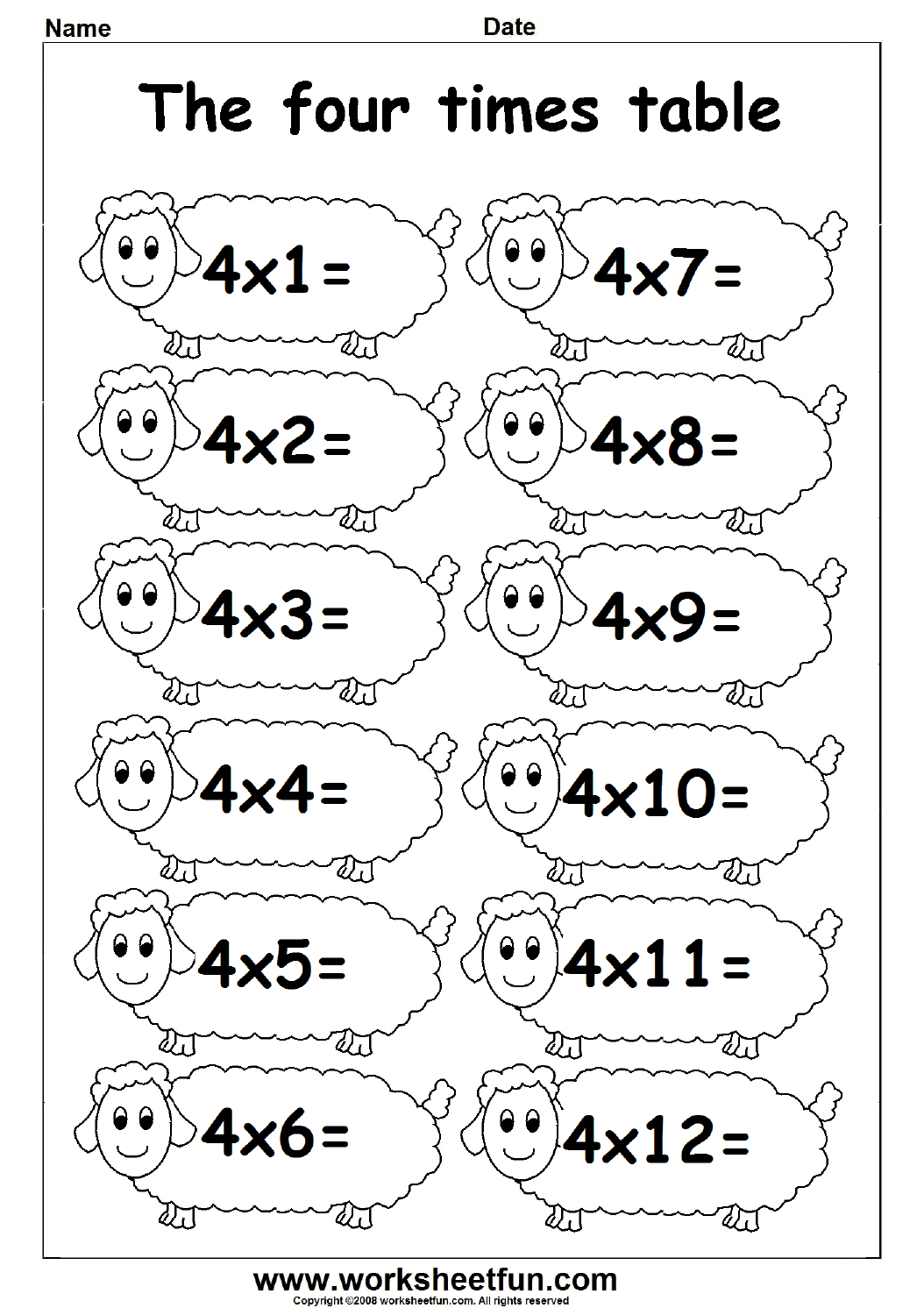 Printable Multiplication 4s