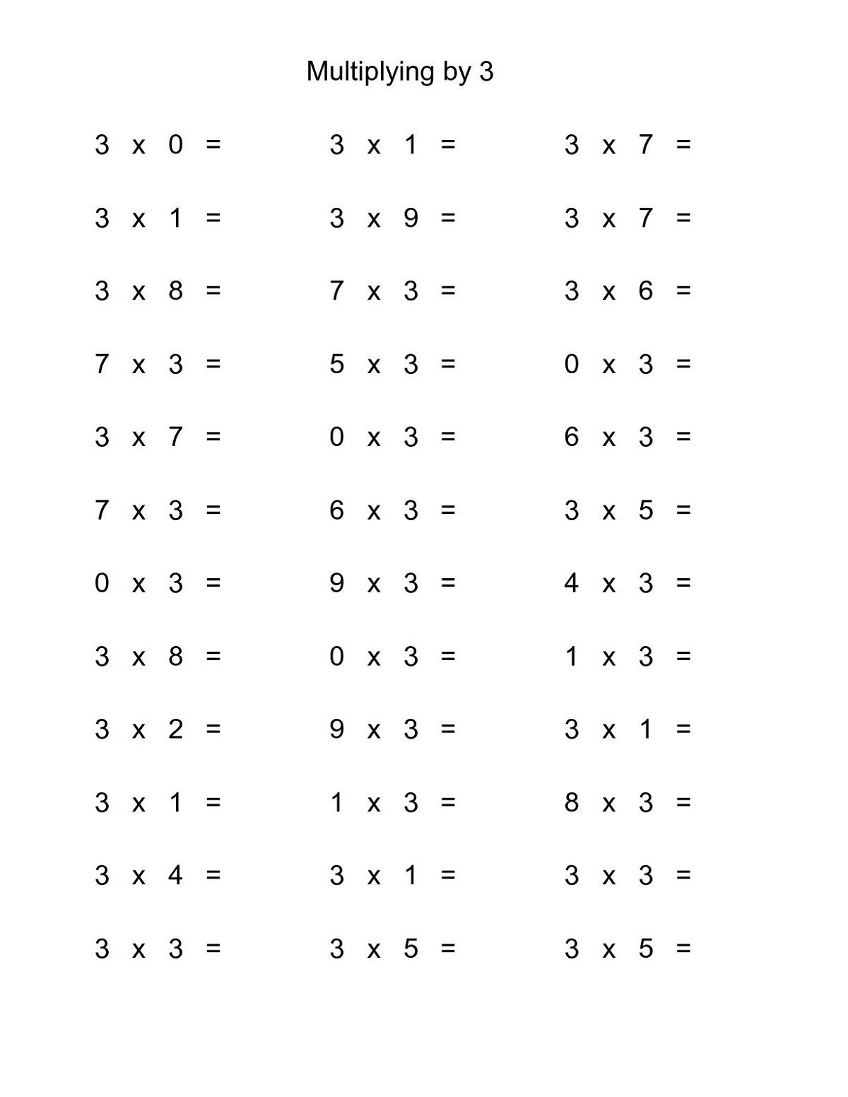 Multiplication Worksheets 3 Times Tables