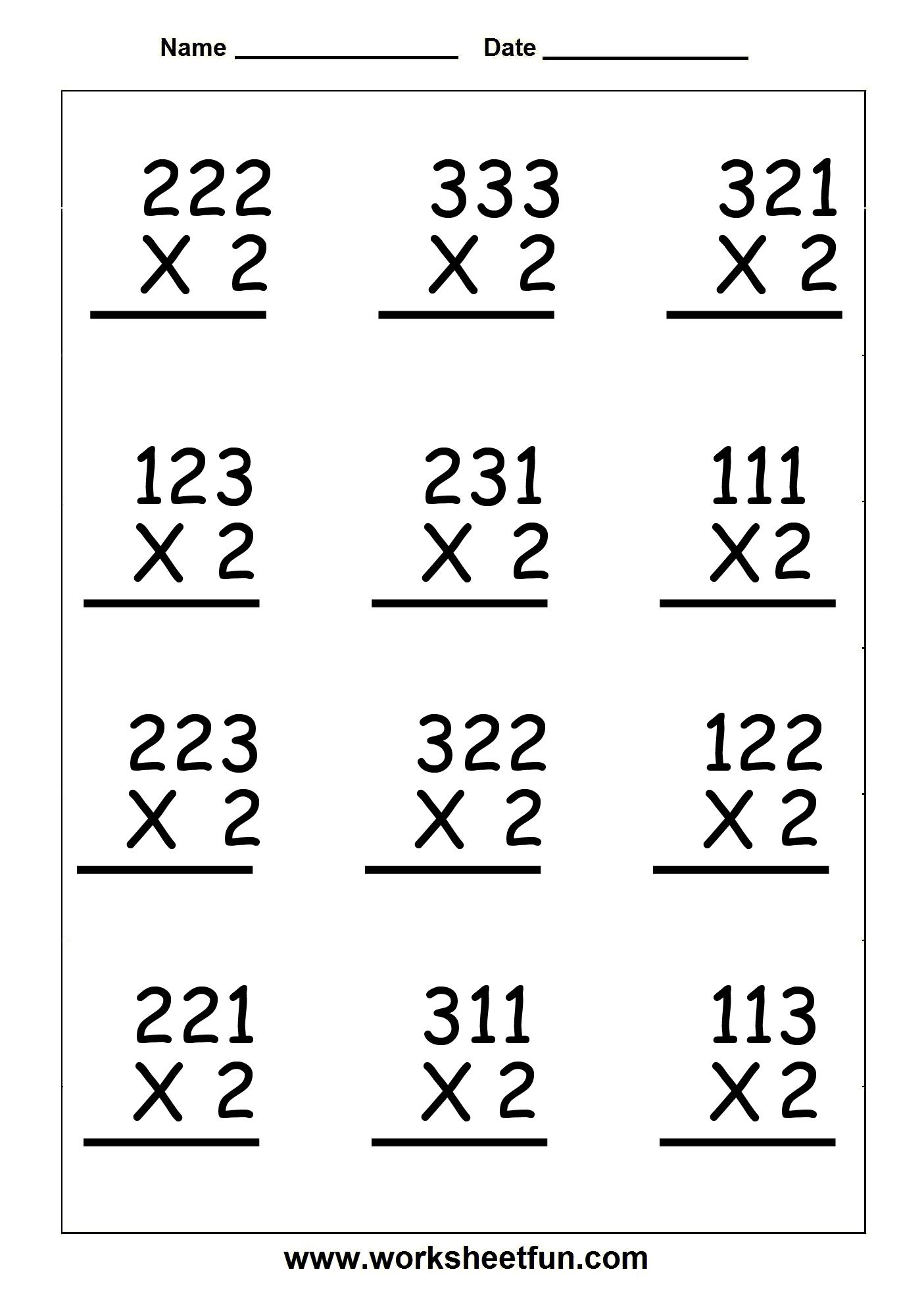 Multiplication Worksheets Double Digit