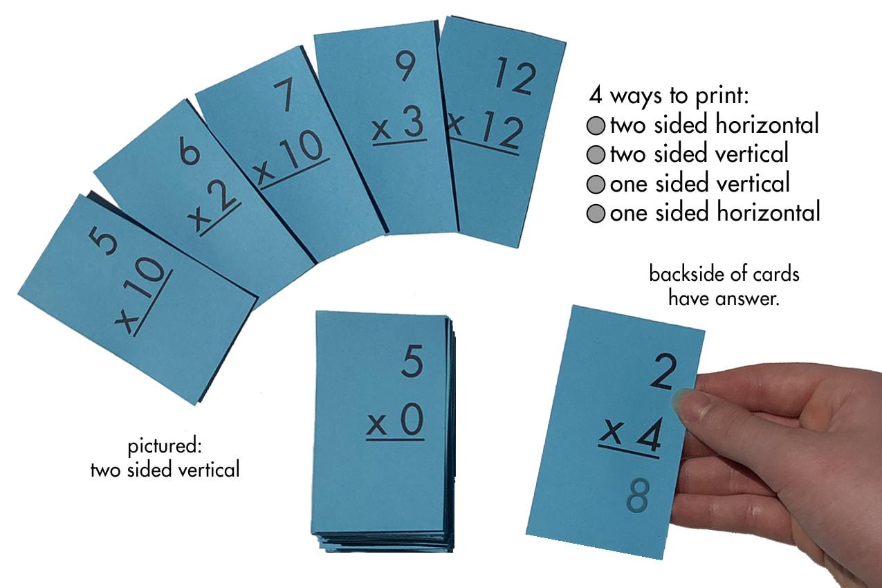 Printable Multiplication Flash Cards 0 9