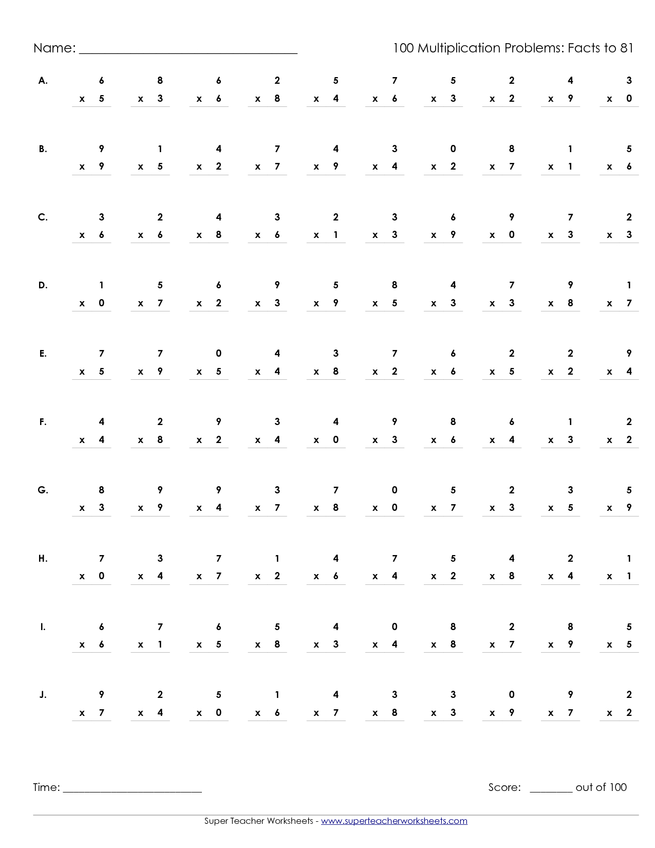 Printable Multiplication Sheets 100 Problems