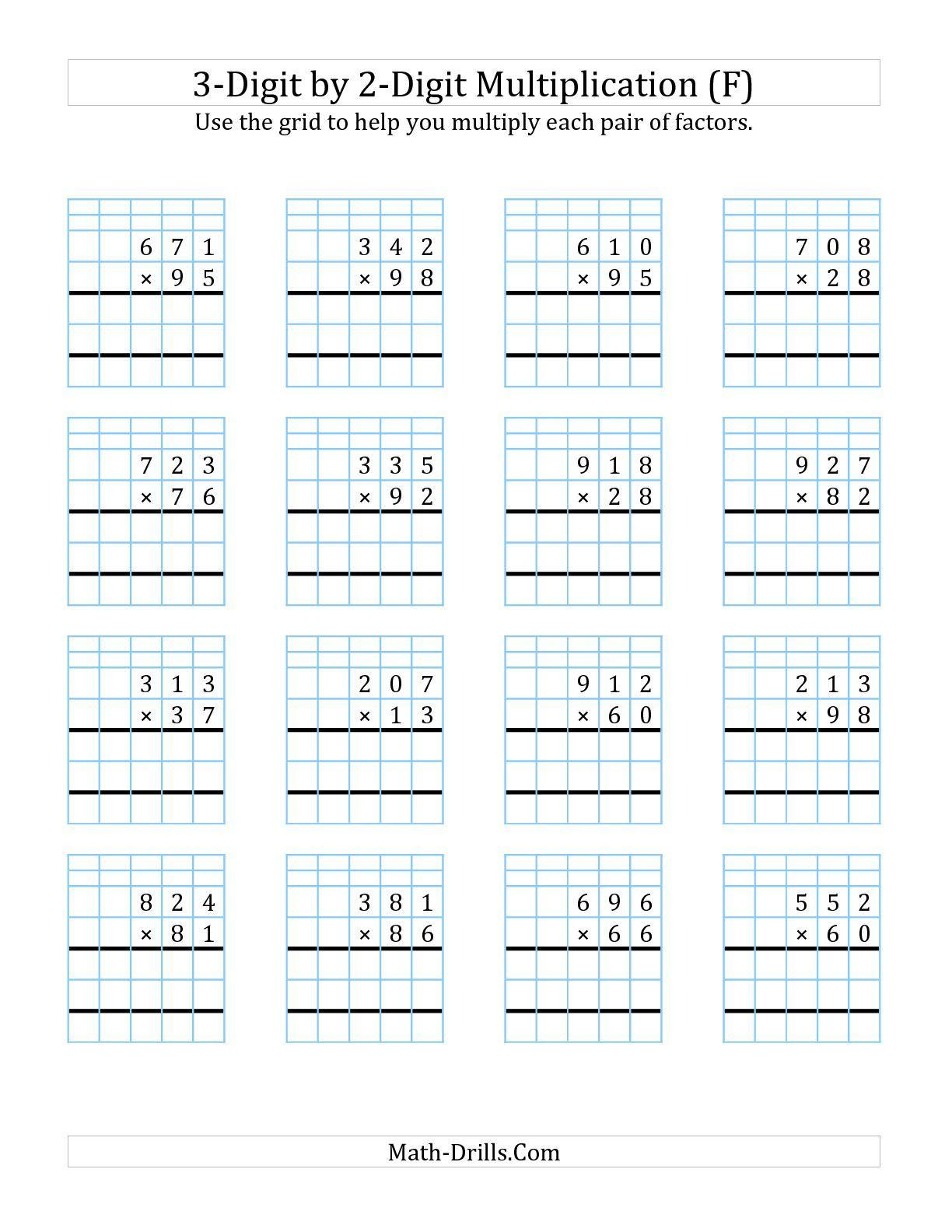 Multiplication Worksheets On Grid Paper