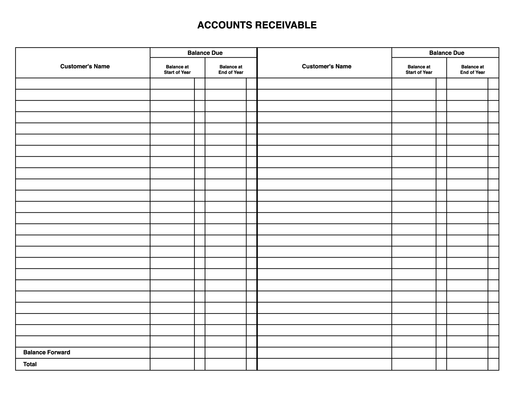 Formatted Business General Ledger Template